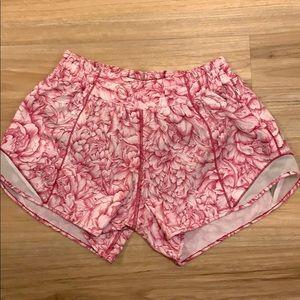 New Lululemon Pink Floral print Running Shorts, 6
